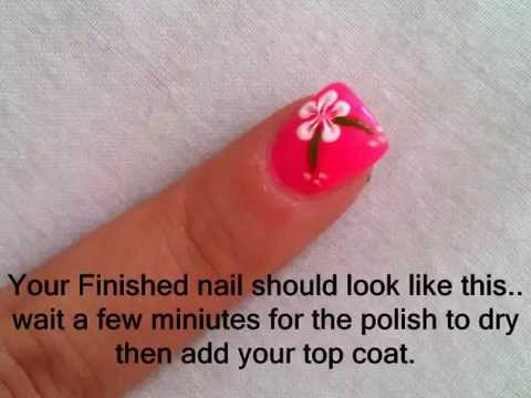 pink neon nails with white flowers tutorial