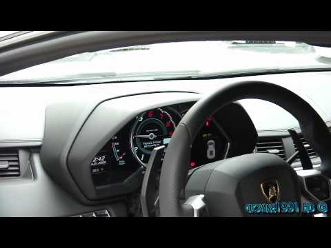 Lamborghini Aventador LP700-4 cold start ups, revs and loud downshift  - counter view - 1080p