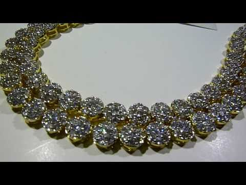 $150 High-Quality! GOLD Lab Made Diamond Cluster Chain/Necklace video Rick Ross Gucci mane