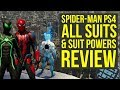 Spider Man PS4 All Suits and Abilities In The Game REVIEW (Spiderman PS4 Suits)