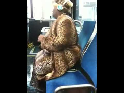 Booty bass church lady in leopard skin dances on 23 bus