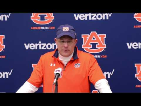 Gus Malzhan gives a postgame interview following Auburn's 55-0 victory over Alabama A&M.