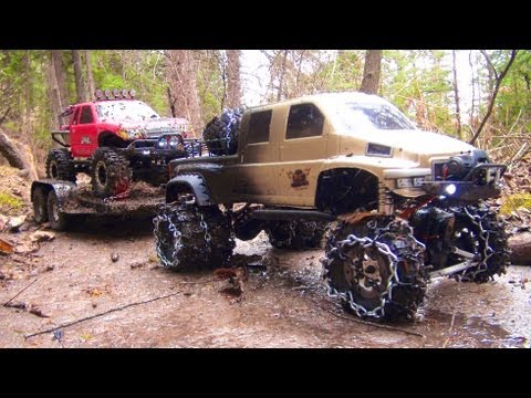 RC ADVENTURES - OVERKiLL PUTS CHAiNS ON PiNKY ~ MUDDY SCALE 4x4 TRUCKS &amp; TRAILER