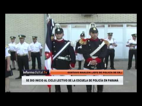 <b>Acto en Paraná.</b> Urribarri y Maslein dieron inicio al ciclo lectivo en la escuela de Policía