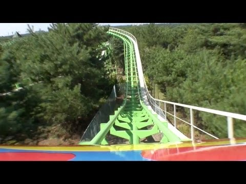 Thru the Woods Trees Jet Coaster Roller Coaster Front Seat Onride POV Pleasure Garden Hitachi Japan