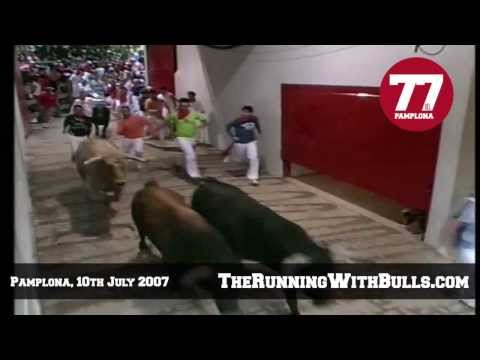 10th July 2007 - The running of the bulls in Pamplona