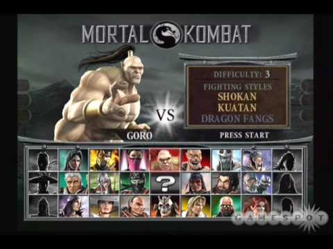Mortal Kombat - All soundtrack of Select Character