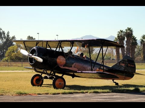 Grass Landing Video in 1929 Travel Air D4D Biplane GoPro Flabob Airport 2014 Veterans Day Event