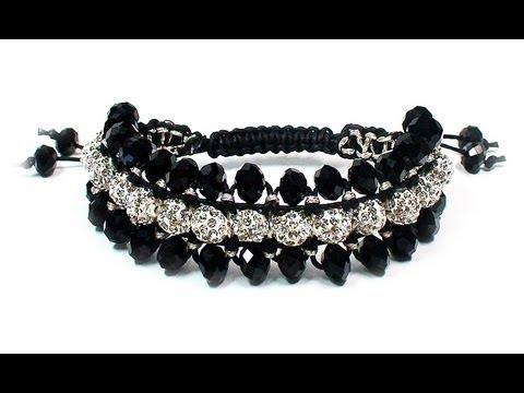 DIY: Triple shamballa bracelet / Как сделать тройной браслет шамбала как сделать тройной браслет шамбала своими...