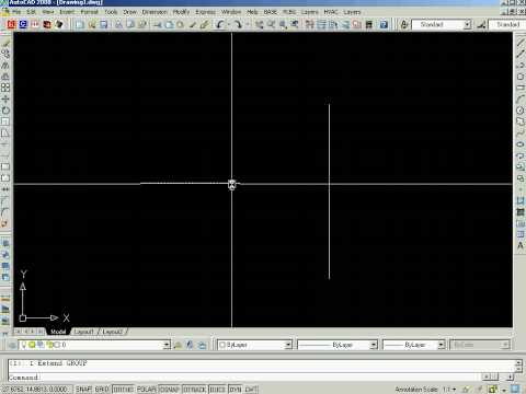 AutoCAD tutorial - How to extend a line Image 1