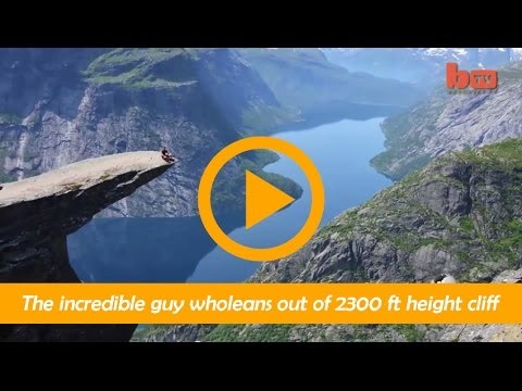 The incredible guy wholeans out of 2300 ft height cliff