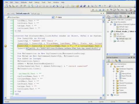 Visual Basic  Visual Studio Video Tutorial - Insert record into your relational database