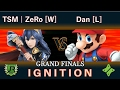 Ignition #80 GRAND FINALS - TSM | ZeRo [W] (Lucina) vs Dan [L] (Mario, Diddy Kong)