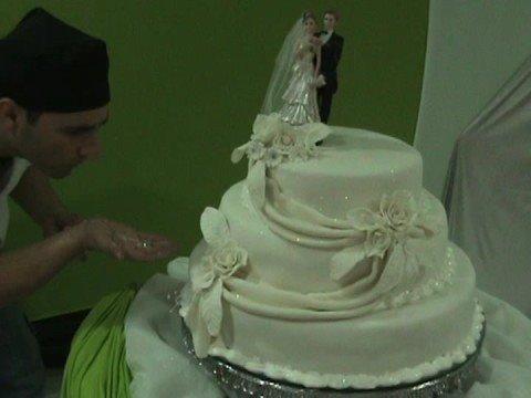 Perolizando um bolo de casamento