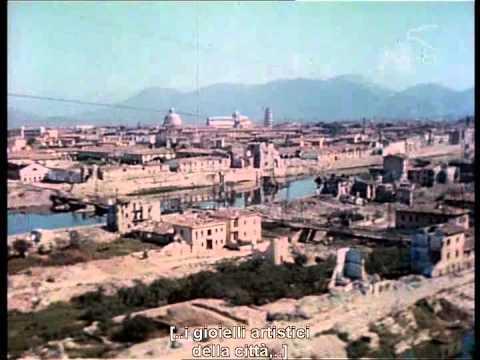 Pisa Bombardata (31 agosto 1943). Filmato aereo a colori.