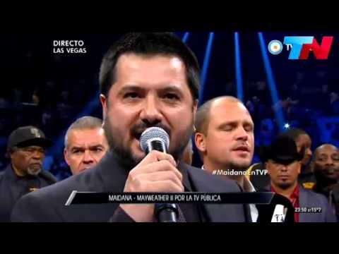 Himno nacional Argentino por Jorge Rojas y Los Tekis en Las Vegas [Mayweather vs Maidana 2]