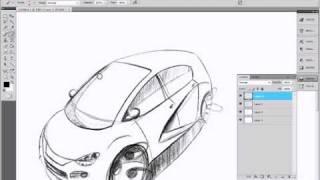 Car Design Tutorial photoshop sketch and render