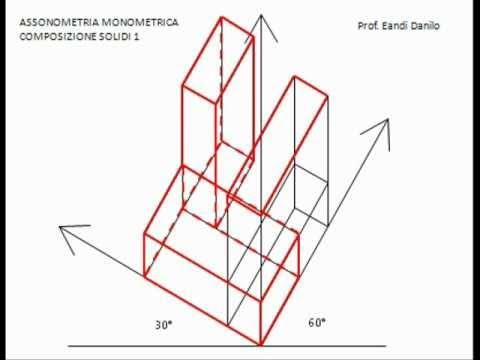 Assonometria monometrica composizione solidi 1