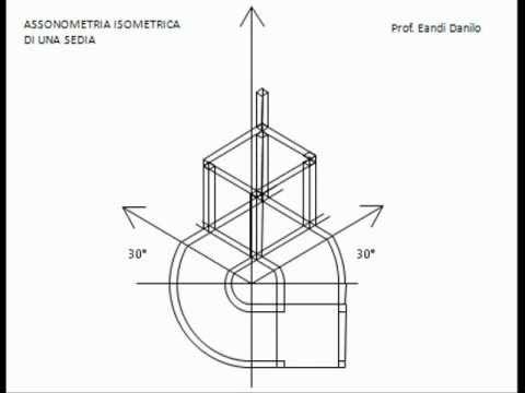 Assonometria isometrica di una sedia