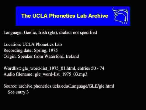 Gaelic, Irish audio: gle_word-list_1975_03