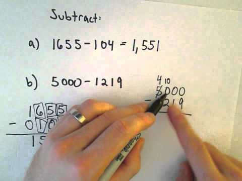Subtracting Whole Numbers , Example 2