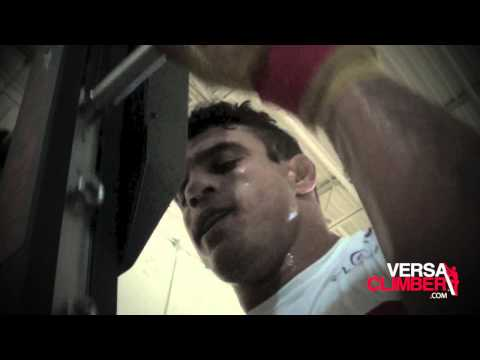 UFC fighter Vitor Belfort cardio training on VersaClimber for fight against Michael Bisping.