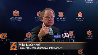 Former Director of National Intelligence Mike McConnell speaks at Auburn University