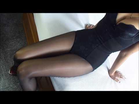 Asians Shiny Black Pantyhose & Bodysuit HD