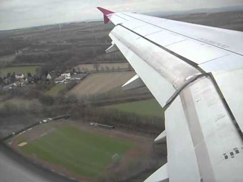 aircraft landing - Airbus A320 - Dortmund - 15-I-2011 - view from inside