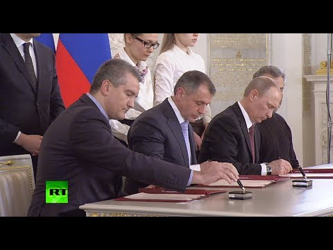 Signed! Crimea, Sevastopol ink historic treaty to join (Russia)  3/18/14