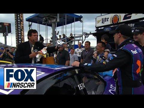 Michael Waltrip Spills Taco over Denny Hamlin's Car - 2015 NASCAR Sprint Cup