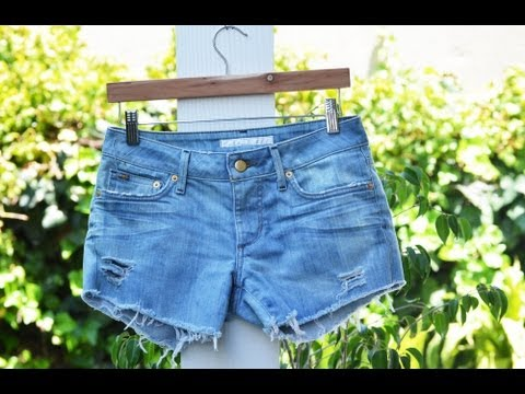 Perfectly Distressed Denim Shorts Tutorial - A Mr. Kate Quickie DIY