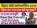 बिहार बोर�ड मैट�रिक इंटर स�कॉलरशिप 2019-Bihar 10th 12th Pass Scholarship application 2019-form apply