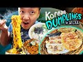 Korean Kimchi DUMPLINGS & SEAFOOD NOODLES   Tour of Ikseon-dong Seoul South Korea