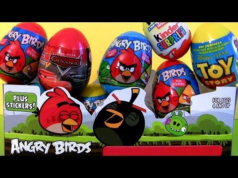 12 Cars 2 Kinder Surprise Eggs Unwrapping Angry Birds Holiday Edition Easter Toys Disney Pixar