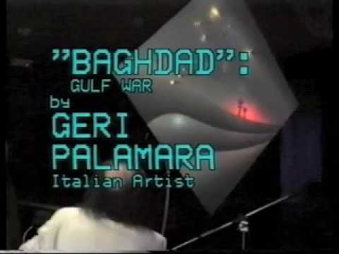 "GERI PALAMARA ""BAGHDAD BOMBING"",Baghdad bombs, dedicato a GEORGE BUSH GULF WAR al METROPOLITAN MUSEUM OF NEW YORK e all'ISTITUTO LUCE. Impianto multimediale,multimediale system,electronic arts,total art. Video composition by Marco Salvini"