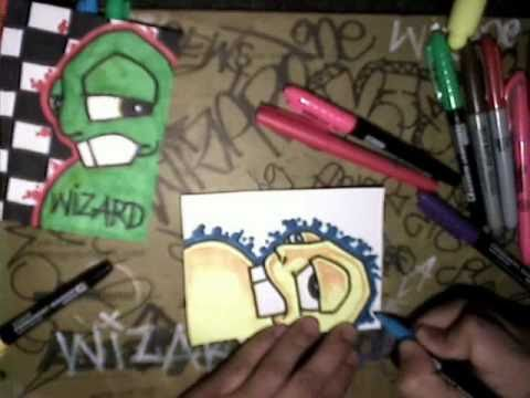 How to draw graffiti characters (Graffiti Stickers)