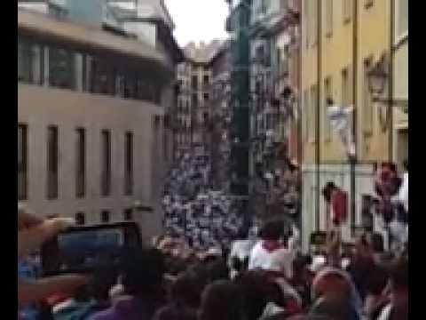 San Fermín. 08/07/12 Encierro desde final calle Santo Domingo.