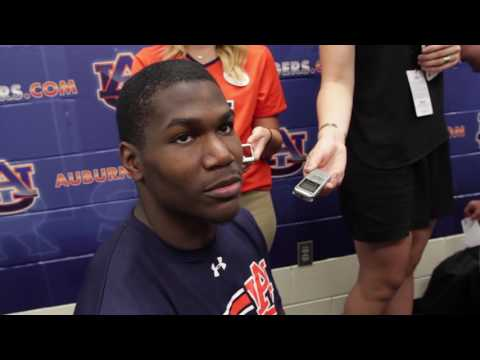 Auburn Runningback Kerryon Johnson gives a postgame interview following Auburn's 58-7 victory over ULM.