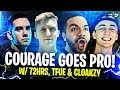 COURAGE GOES PRO WITH TFUE, CLOAKZY, AND 72HRS! (Fortnite: Battle Royale)