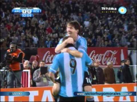 Argentina 4 Ecuador 0 Eliminatorias Brasil 2014 (relato de Victor Hugo Morales )
