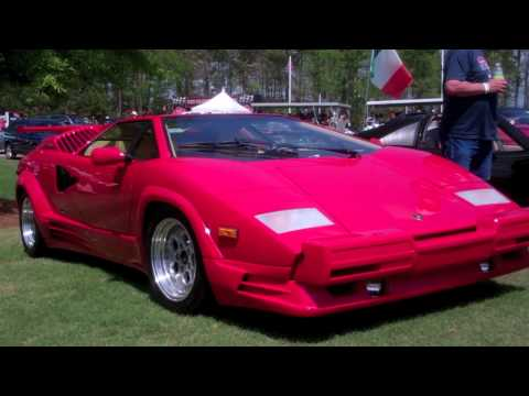 Red Lamborghini Countach Acceleration & Startup 25th Anniversary
