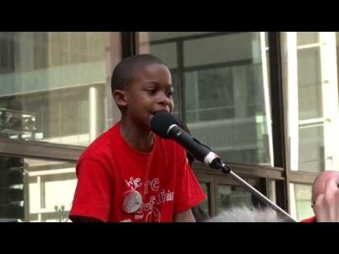 Amazing 9 year old Asean Johnson brings the crowd to their feet at Chicago school closings rally