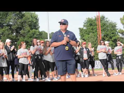 Auburn softball returns from Oklahoma City after fighting for the Women's College World Series. Head Coach gives warm words to the loving fans and to Auburn softball's most successful team in history.