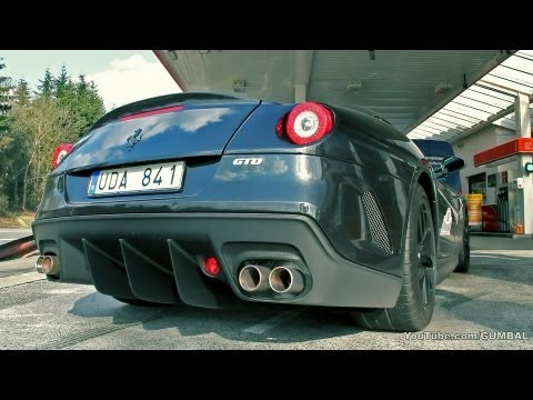 Black on black Ferrari 599 GTO - Full throttle sound!