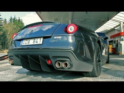 Black on black Ferrari 599 GTO - Full throttle sound!