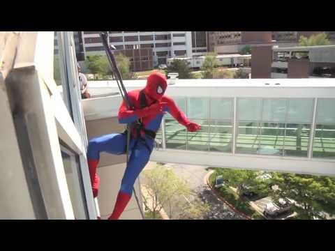 Spiderman Cleans Windows at Primary Children's Hospital
