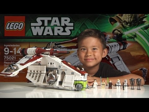 REPUBLIC GUNSHIP - LEGO Star Wars Set 75021 Time-lapse, Stop Motion, Unboxing & Review