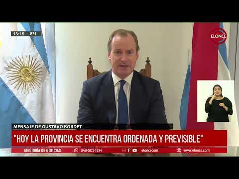 Bordet anunció que no prorrogará la ley de emergencia en la provincia