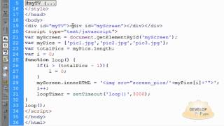 Javascript TV Screen Slideshow Timed Image Rotation Script HTML CSS Tutorial